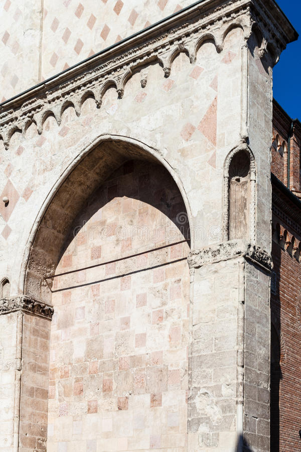 Detail of facade of in Duomo Cathedral in Vicenza stock images