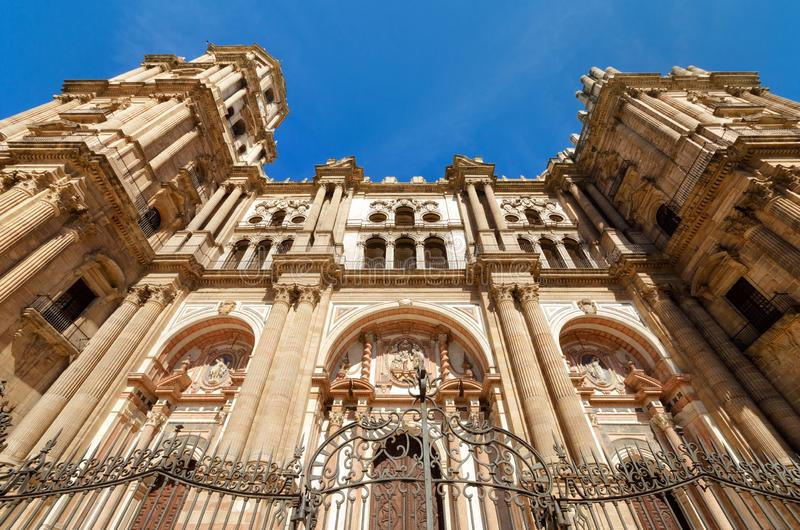 Detail of the facade of Malaga Cathedral, Malaga, Andalusia, Spain. royalty free stock photo