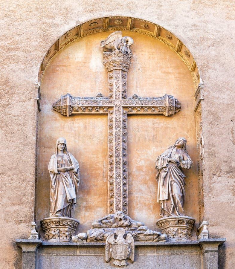 Detail of facade of Monasterio San Juan de los Reyes in Toledo. Spain stock photography