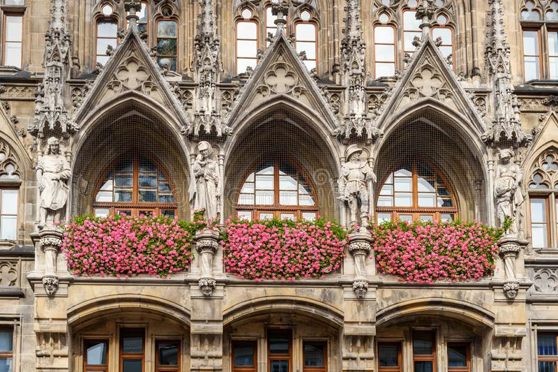 Detail of facade of New Town Hall, town hall. Marienplatz in Munich. Gemany. Detail of facade of New Town Hall, town hall on Marienplatz in Munich. Gemany stock photo