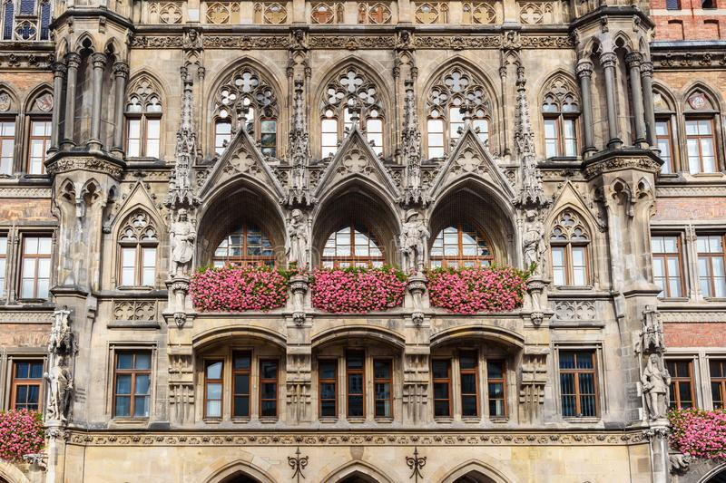 Detail of facade of New Town Hall, town hall. Marienplatz in Munich. Gemany. Detail of facade of New Town Hall, town hall on Marienplatz in Munich. Gemany royalty free stock images