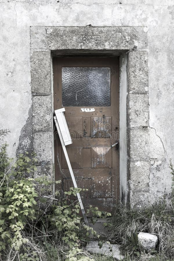 Detail, of facade of an old abandoned provincial fisherman house stock images