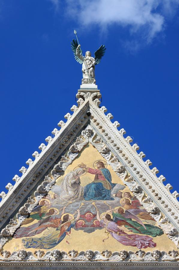 Detail of the Facade of Siena Cathedral royalty free stock photography