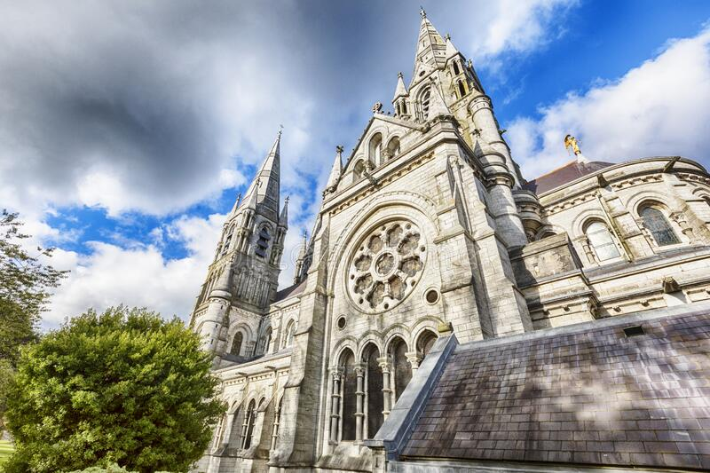 Detail of facade of St. Fin Barre Cathedral stock photography