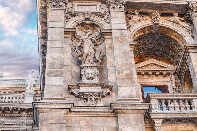 Detail of the facade of St. Stephen`s Basilica church in Budapest, Hungary. Main tourist attraction in the city. Close-up detail of the facade of St. Stephen`s stock photo