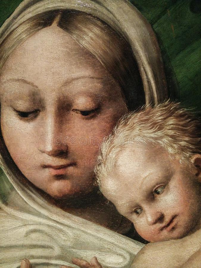 Italy. Artistic heritage. Madonna del latte, Madonna suckling the Christ Child, by Pedro Machuca. Detail with the faces. Detail with the faces of the Virgin and stock photo