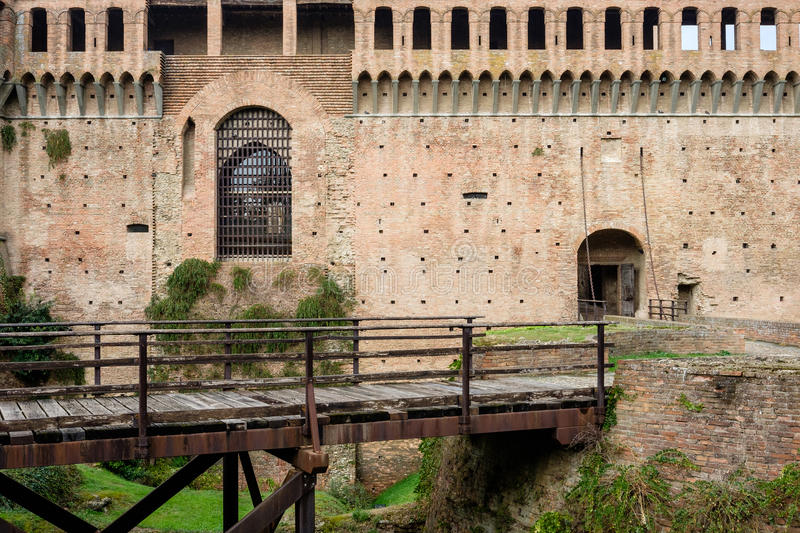 Detail of the famous castle of Imola in Italy stock photo