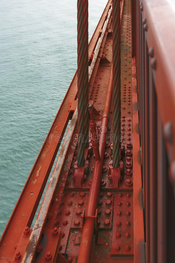 Detail of the famous Golden Gate Bridge stock images