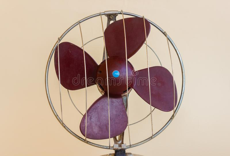 Detail of a fan of a electric ventilator of 1960 royalty free stock image