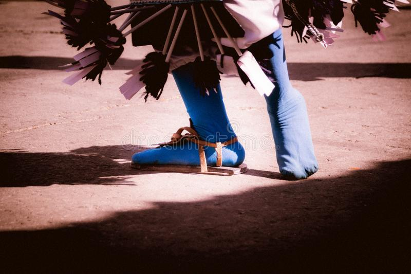 Feet of a traditional matachin mexican dancer royalty free stock images