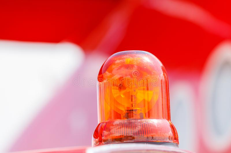 Detail of Flashing Red Siren Light. On the fire truck stock images