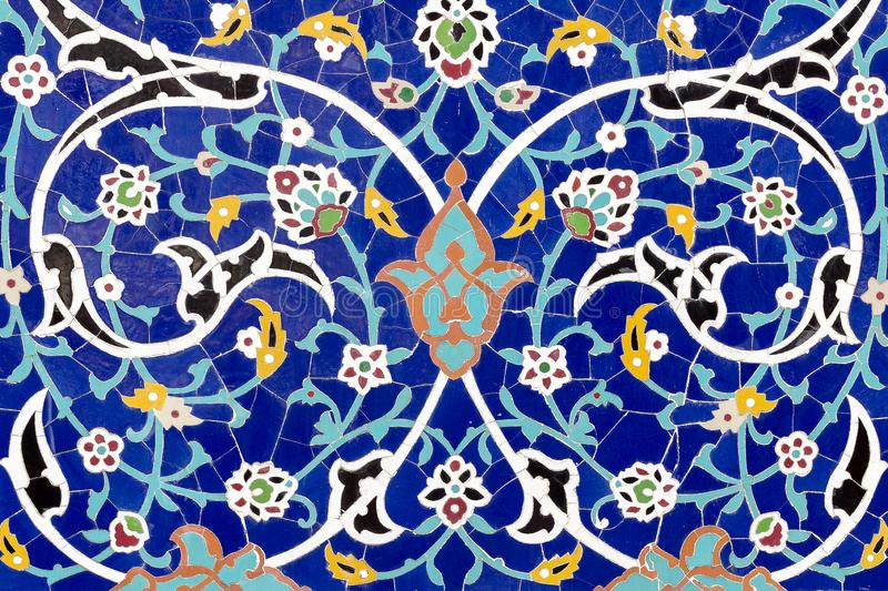 Detail of floral ceramic decoration. Eastern architectural colored pattern. royalty free stock photo