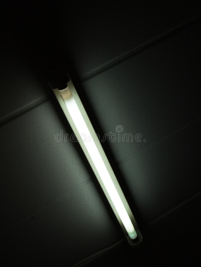 Detail of a fluorescent tube mounted on a wall. False green color light royalty free stock photo
