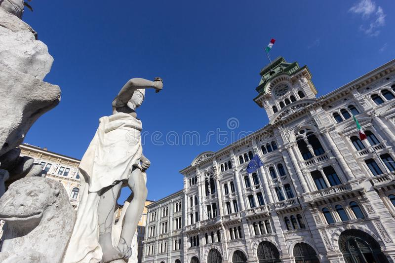 Detail of the Fountain on the four continents in Piazza Unità d`Italia Unity of Italy square in Trieste stock photo