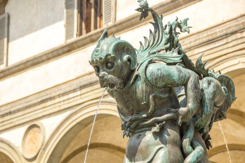 Detail of Fountain in the Piazza della Santissima Annunziata Fontana dei mostri marini. Sculpted by artist Pietro Tacca, royalty free stock image