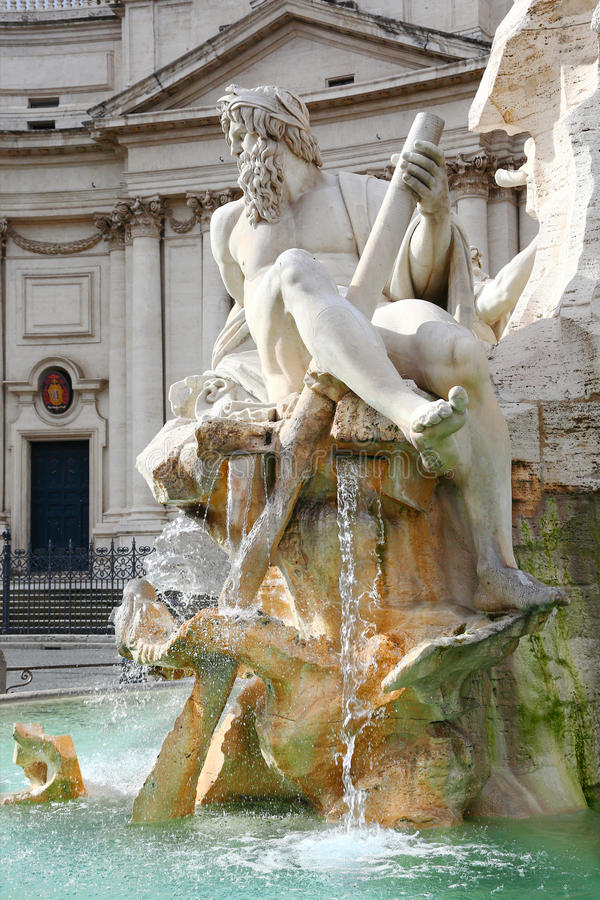 Detail of fountain in Piazza Navona, Roma. Detail of Fountain of the four rivers by Gian Lorenzo Bernini in Piazza Navona, Roma royalty free stock photography
