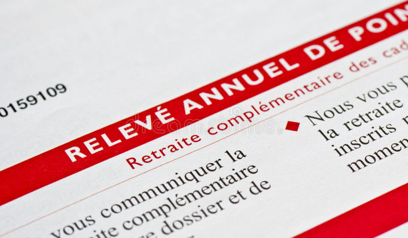 Detail of a french retirementl pension account. Detail of a french retirement annual pension account royalty free stock photography