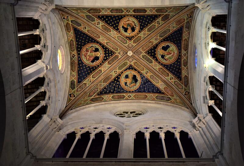 Detail of the frescoed vault, supported by delightful columns, of the cathedral of Lucca.  stock image