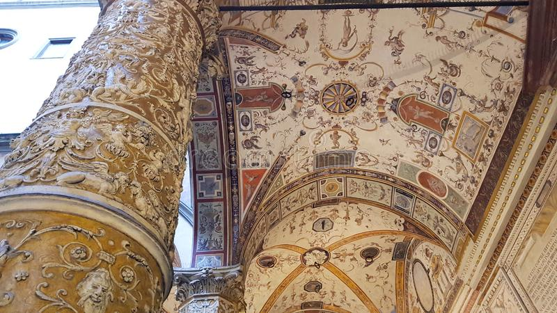 Detail of the frescoes of the first courtyard of Palazzo Vecchio, Florence, Tuscany, Italy royalty free stock images
