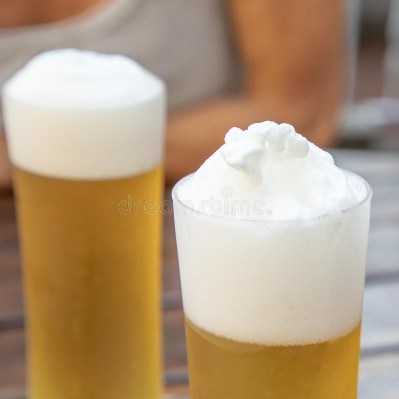 Detail of fresh draught beer royalty free stock images