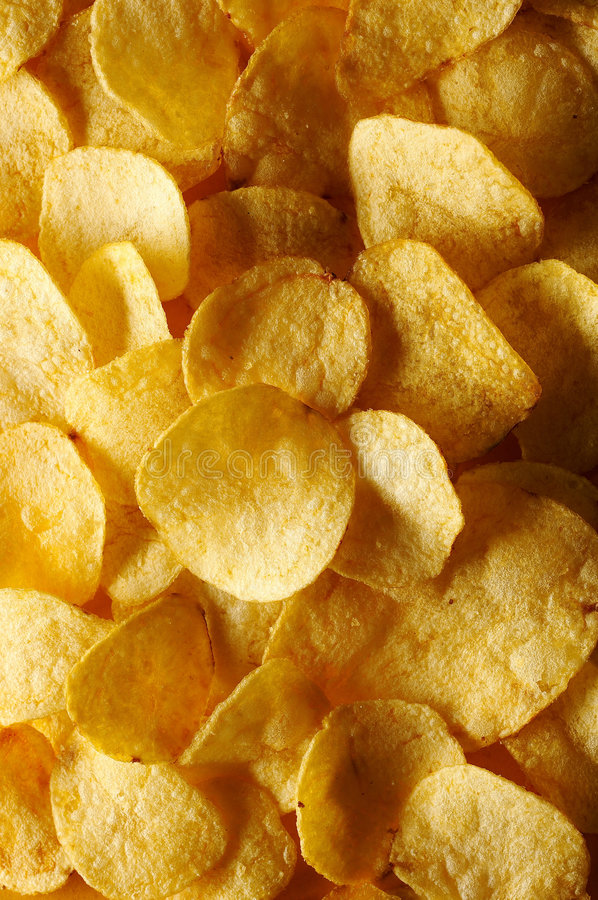 Detail of fried potato chips royalty free stock photos