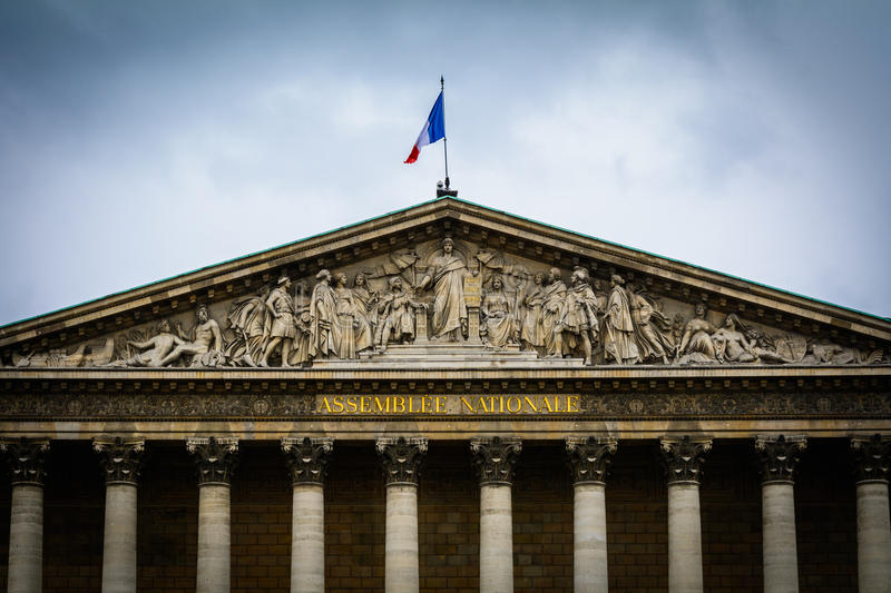 Detail of front facade of Assemblee Nationale building in Paris royalty free stock photo