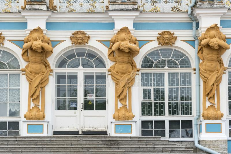 Detail of the frontage of Catherine Palace St Petersburg Russia. Baroque 18th-century palace with large grounds where Russian royal family spent their summers stock photography