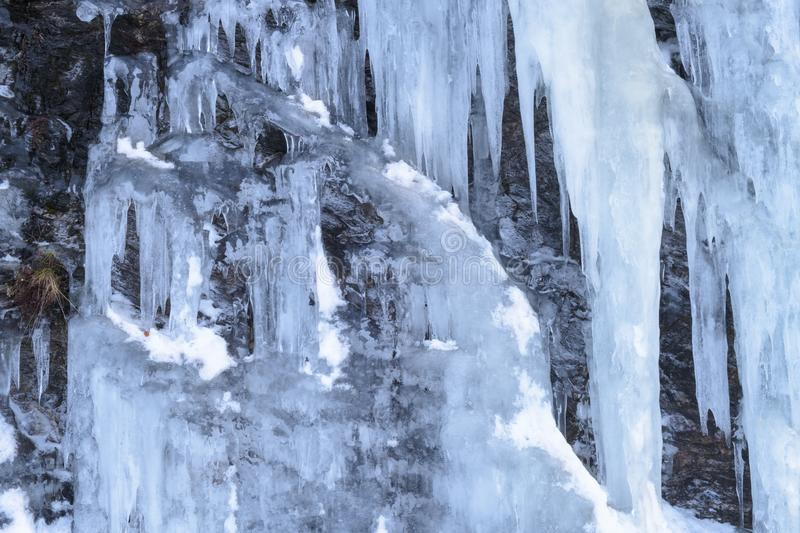 Detail of a  frozen waterfall royalty free stock image
