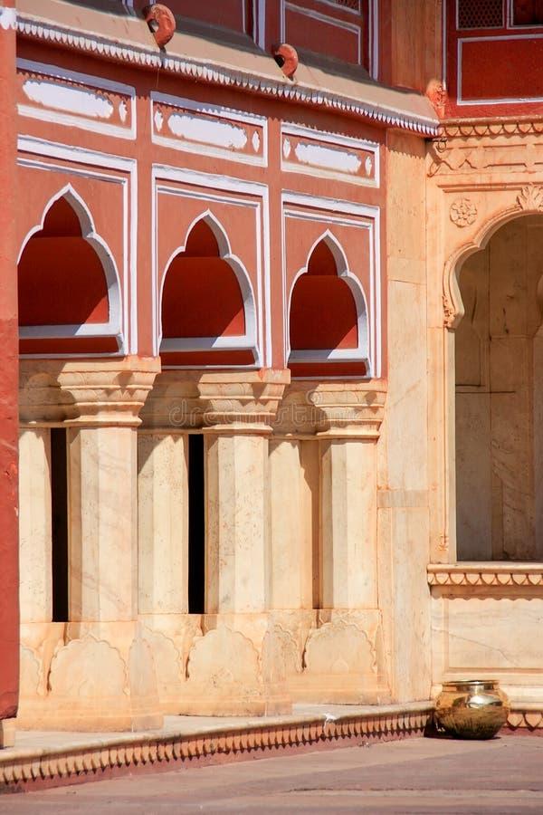 Detail of a gallery at Chandra Mahal in Jaipur City Palace, Rajasthan, India royalty free stock image