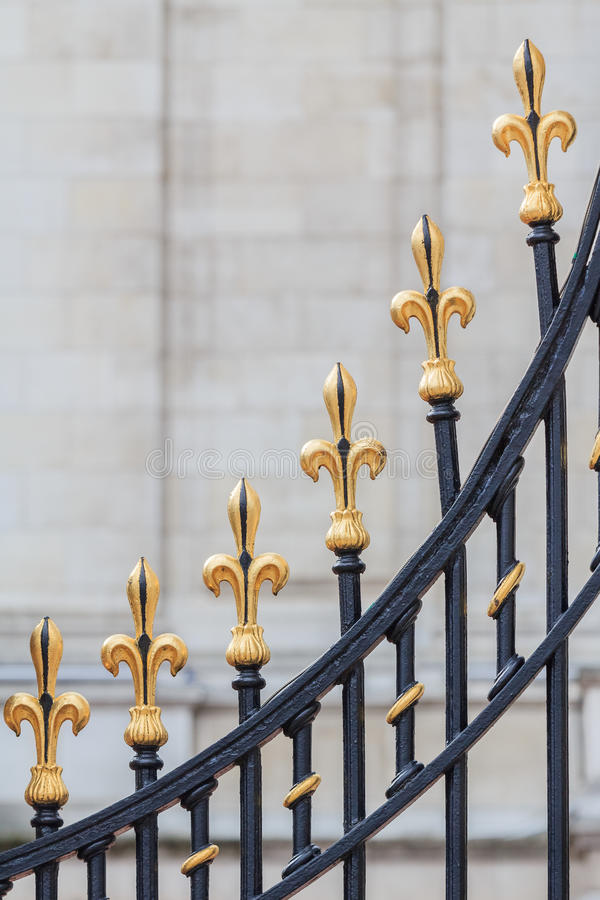 Detail of the gate of Buckingham Palace royalty free stock image