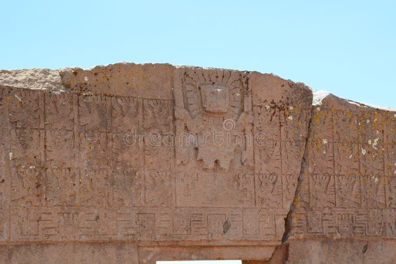 Detail. Gate of the sun. Tiwanaku archaeological site. Bolivia. Tiwanaku is a Pre-Columbian archaeological site in western Bolivia royalty free stock photos