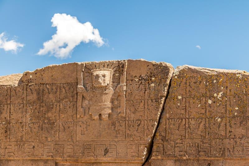 Detail of gate of the sun at Tiwanaku Tiahuanaco, Pre-Columbian archaeological site - La Paz, Bolivia stock photos