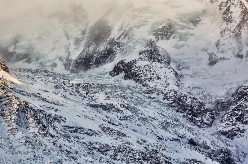 Detail of a Glacier. Detail of the glacier of Bionnassay on the French side of Mont Blanc stock image