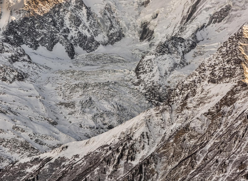 Detail of a Glacier. Detail of the glacier of Bionnassay on the French side of Mont Blanc stock images