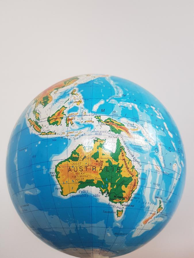 A detail of a globe focused on Australia royalty free stock photo
