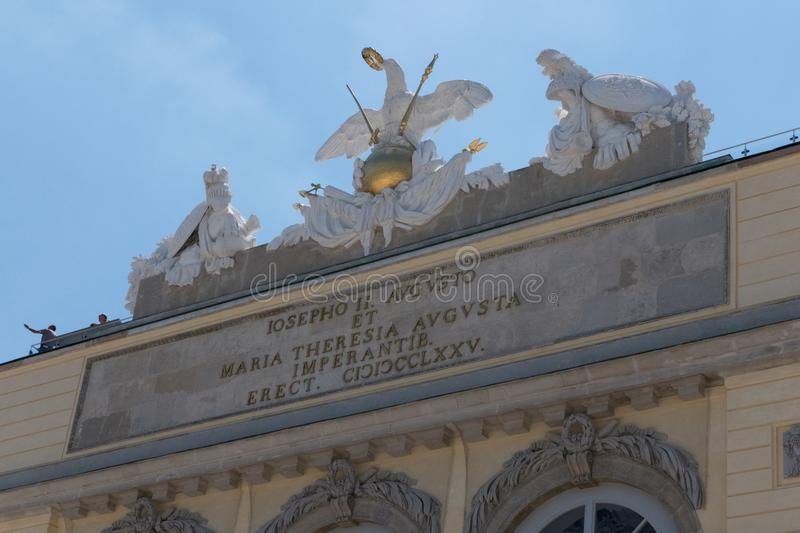 Detail of the Gloriette at the Schonbrunn Palace in Vienna royalty free stock images