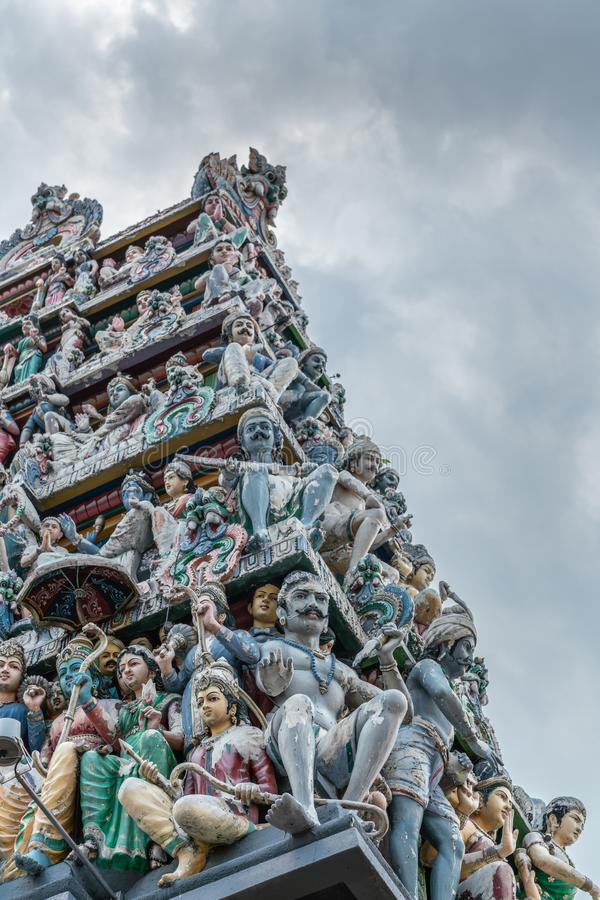 Detail of Gopuram tower at Sri Mariamman Hindu Temple, Singapore stock photos