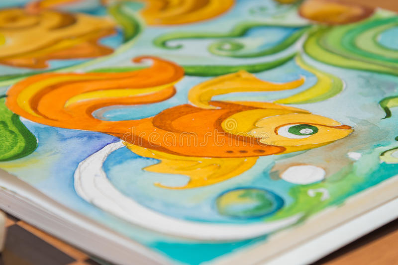 Detail graphic image of goldfish painted in watercolor. Album royalty free stock images