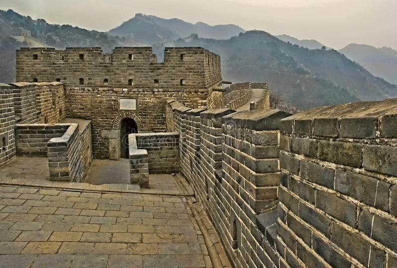 Detail of The Great Wall of China in HDR royalty free stock photography
