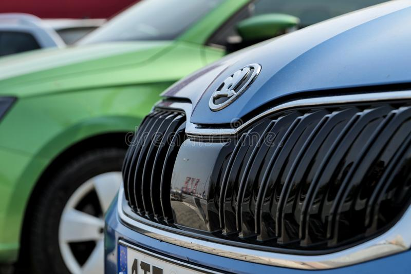 Detail of a grille of modern Skoda Fabia cars showed at dealership in Ostrava-Poruba royalty free stock photography