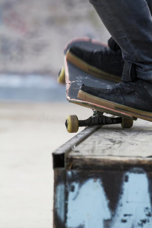 Detail of a grind with skateboard royalty free stock images