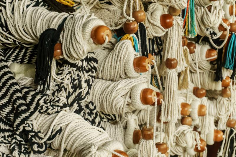 Detail of hammock for sale. Detail of hammocks of different styles and colors stock images