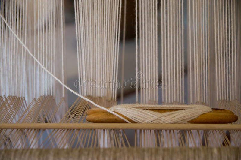 Detail of a hand loom. In front view stock image