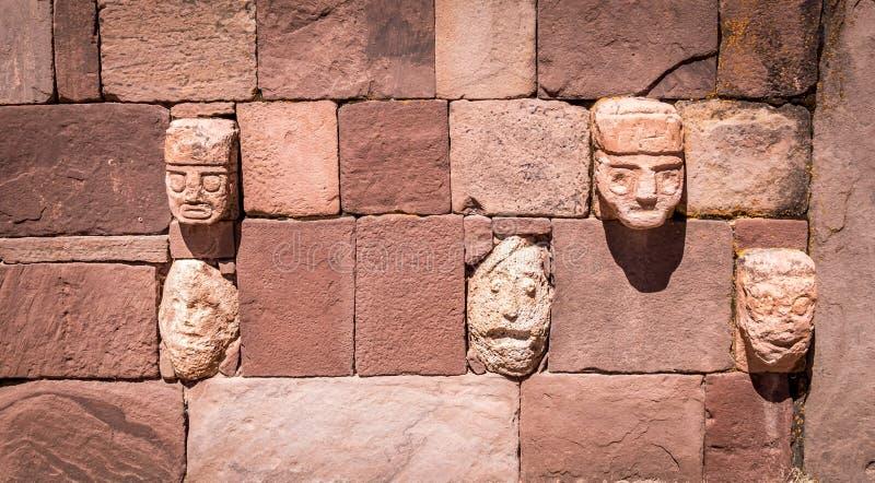 Detail of head sculptures at Tiwanaku Tiahuanaco, Pre-Columbian archaeological site - La Paz, Bolivia. Detail of head sculptures at Tiwanaku Tiahuanaco, Pre stock photo