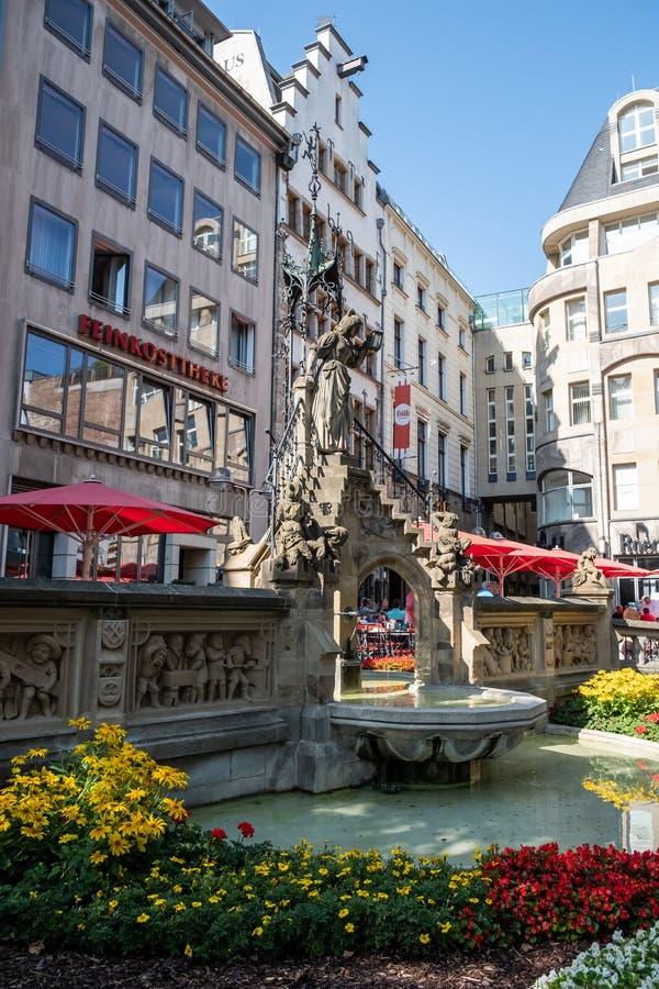 Heinzelmaennchenbrunnen Fountain in Cologne, Germany. Detail of the Heinzelmaennchenbrunnen Fountain in Cologne, Germany. The fountain was built in 1899 stock image