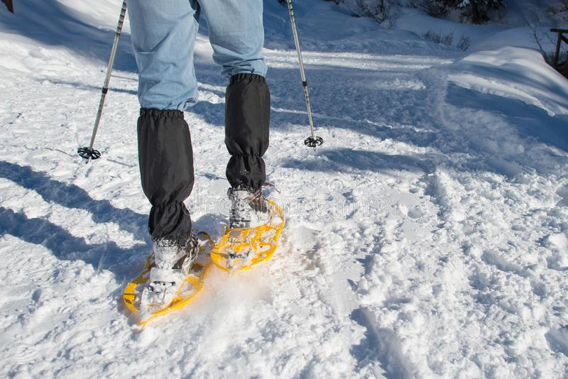 Detail of a hiker with snowshoes stock photography