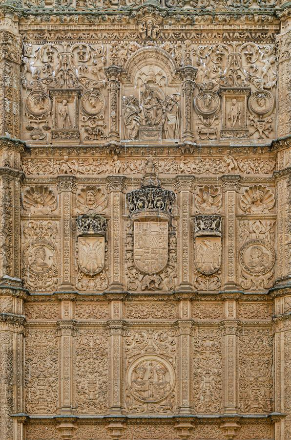 Detail of the historical entrance to the University of Salamanca middle age. Spain royalty free stock photos