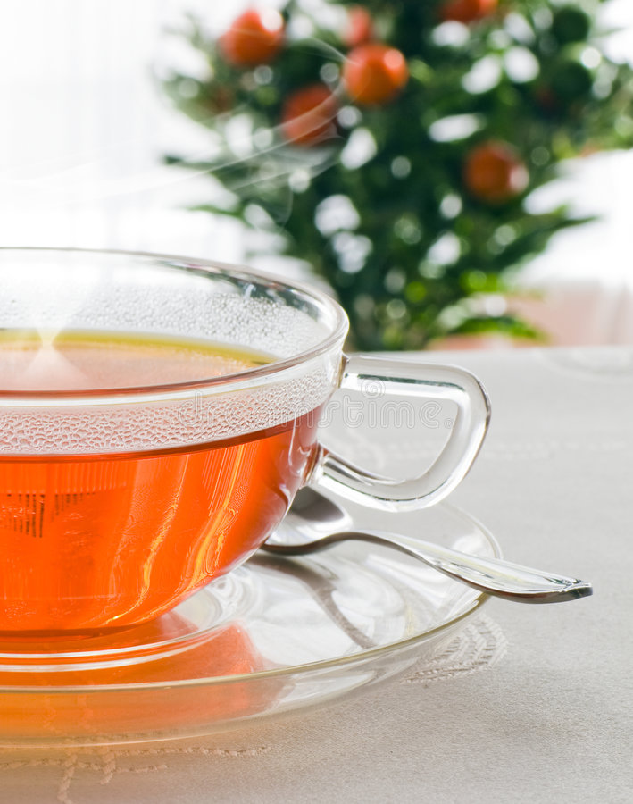 Detail of hot tea. In glass cup royalty free stock photo