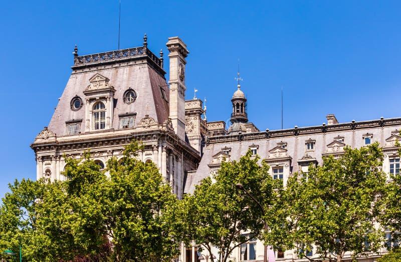 Detail of Hotel de Ville City Hall in Paris stock photos
