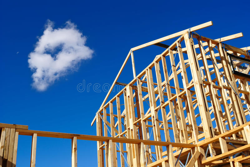 Detail of house frame under construction. Timber frame of a house under construction in Melbourne, Australia royalty free stock photos